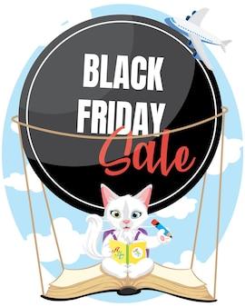 Süße kleine katze, die mit schwarzer freitagsverkaufsfahne fliegt. zurück zum schulladenplakat.