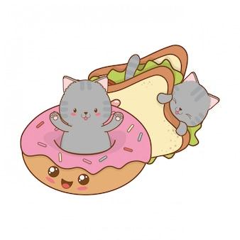 Süße kleine katzen mit donuts kawaii zeichen