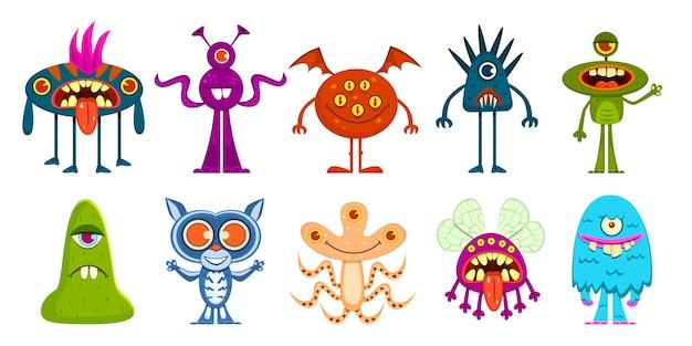 Süße kleine kobolde und gremlins, gruselige außerirdische kinder