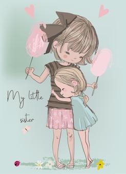 Süße kleine mädchen in sommerkleidern umarmen sich