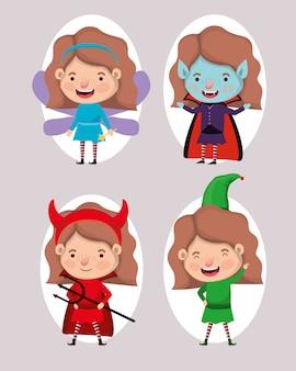 Süße kleine mädchen mit verschiedenen kostümen