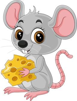 Süße kleine maus der karikatur, die einen käse hält