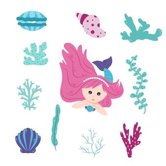 Süße kleine meerjungfrau und eine unterwasserwelt. netter vektorsatz. kleine meerjungfrauen und elemente der meereswelt, algen, korallen, muscheln, perlen, pflanzen. eine mythische meeressammlung. cartoon-stil.