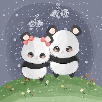 Süße kleine pandas lieben