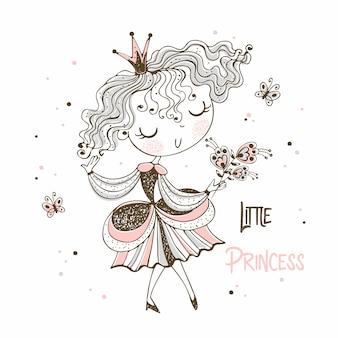 Süße kleine prinzessin im doodle-stil.
