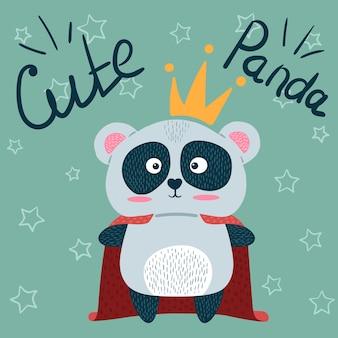 Süße kleine prinzessin. panda-zeichen.
