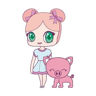 Süße kleine puppe mit schweinchen