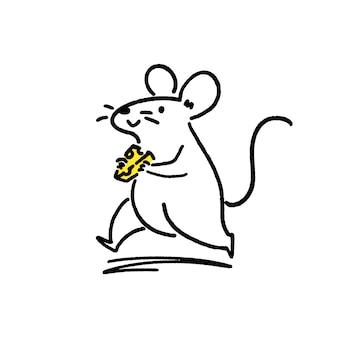 Süße kleine ratte mit käse