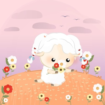 Süße kleine schafe beim blumenpflücken