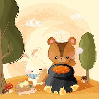 Süße kleine tiere machen kürbissuppe