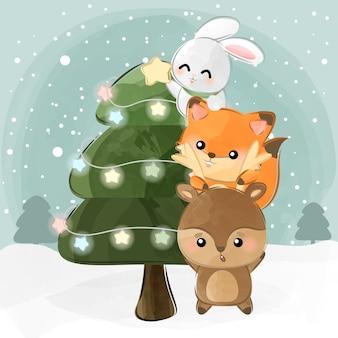 Süße kleine tiere und weihnachtsbaum
