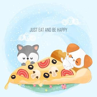 Süße kleine welpen isst pizza zusammen
