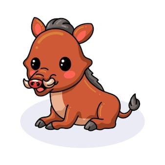 Süße kleine wildschweinkarikatur