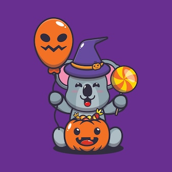 Süße koala-hexe mit süßigkeitenballon und halloween-kürbissen süße halloween-cartoon-vektorillustration