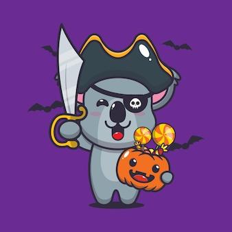 Süße koalapiraten halten halloween-süßigkeiten süße halloween-karikatur-vektorillustration