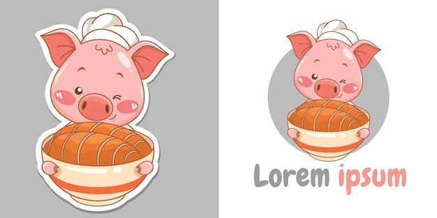 Süße koch-schwein-cartoon-figur, die crispy pork belly essen maskottchen und illustration präsentiert