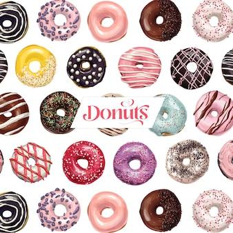 Süße köstliche handgezeichnete realistische donut-sammlung
