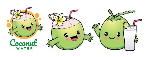 Süße kokos-cartoon-figur
