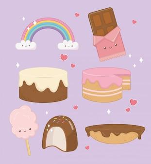 Süße kuchen mit kawaii zeichen gesetzt