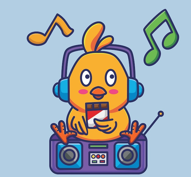 Süße küken, die eine schokolade essen und die musik im radio mit kopfhörervektorillustration hören