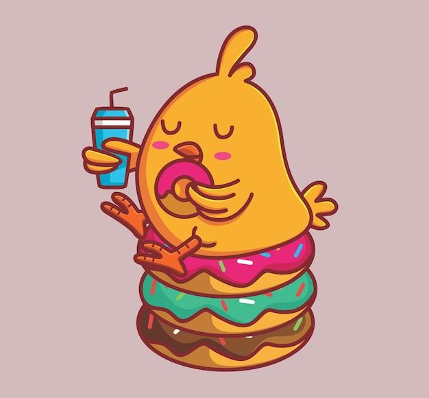 Süße küken essen haufen donuts und trinken cola. tier flach cartoon-stil illustration symbol premium-vektor-logo-maskottchen geeignet für web-design-banner-charakter