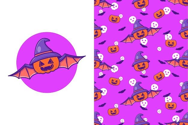 Süße kürbis-fledermaus mit hut hexe fröhliches halloween mit nahtlosem muster