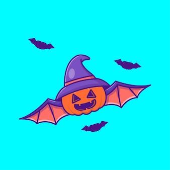Süße kürbis-fledermaus mit hut hexe glückliche halloween-cartoon-illustrationen