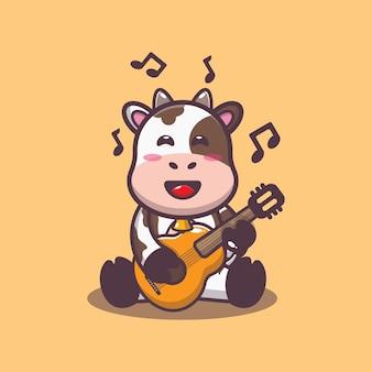 Süße kuh, die gitarre spielt, cartoon-vektor-illustration