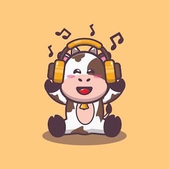 Süße kuh, die musik mit kopfhörerkarikatur-vektorillustration hört