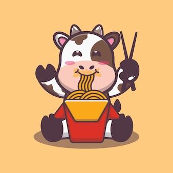 Süße kuh, die nudelkarikatur-vektorillustration isst