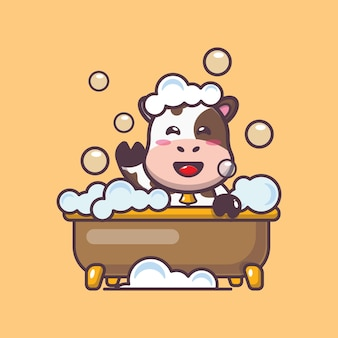 Süße kuh, die schaumbad in der badewannenkarikatur-vektorillustration nimmt