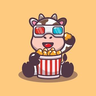 Süße kuh isst popcorn und schaut sich einen 3d-film an
