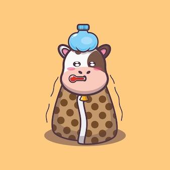 Süße kuh kranke cartoon-vektor-illustration