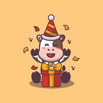 Süße kuh mit geschenkbox-cartoon-vektor-illustration
