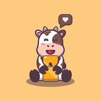 Süße kuh mit handy-cartoon-vektor-illustration