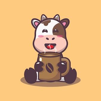 Süße kuh mit heißem kaffee cartoon-vektor-illustration