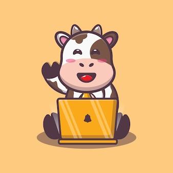 Süße kuh mit laptop-cartoon-vektor-illustration