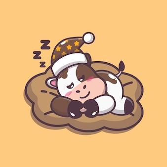 Süße kuh schlafen cartoon-vektor-illustration