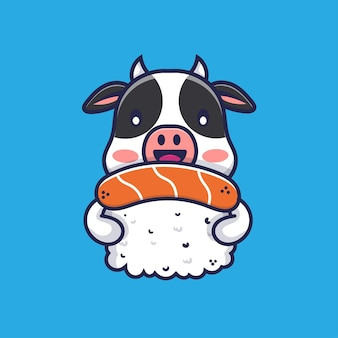 Süße kuh umarmt sushi-cartoon-illustration
