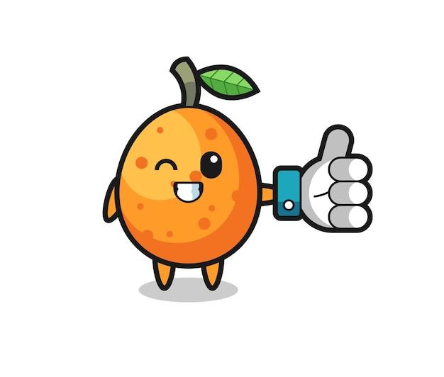 Süße kumquat mit social-media-daumen hoch symbol, süßes stildesign für t-shirt, aufkleber, logo-element