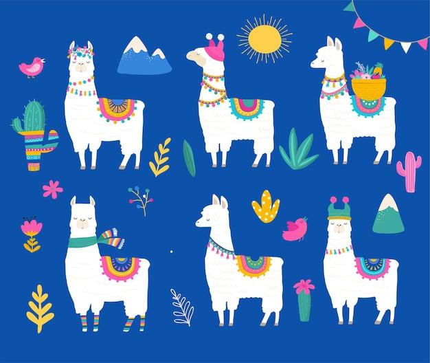 Süße lama-sammlung Premium Vektoren