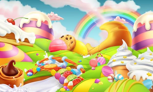 Süße landschaft. süßigkeitenland. süßigkeiten und milchfluss 3d vektorillustration