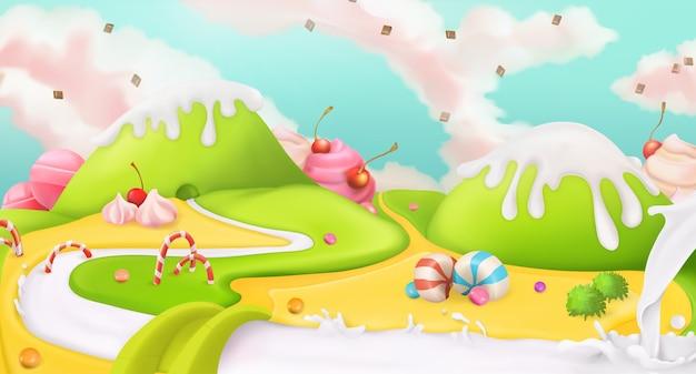 Süße landschaft, vektorillustration
