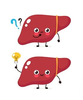 Süße leber mit fragezeichen und glühbirnen-charakter. flache cartoon charakter abbildung symbol. isoliert auf weiss gebärmutter haben ahnung