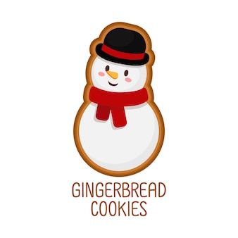 Süße lebkuchen kekse für weihnachten. getrennt auf weißem hintergrund