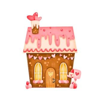 Süße lebkuchenbonbonhausillustration des valentinstags lokalisiert