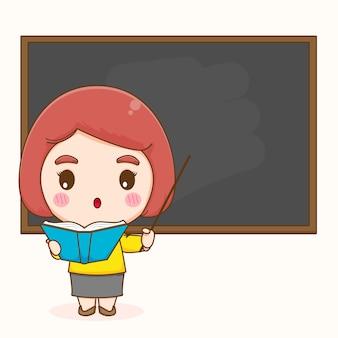 Süße lehrerin im klassenzimmer, die auf tafelkarikatur zeigt