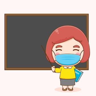 Süße lehrerin mit maske im klassenzimmer, die auf tafelkarikatur zeigt