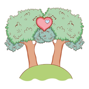 Süße liebesfeier am park cartoon