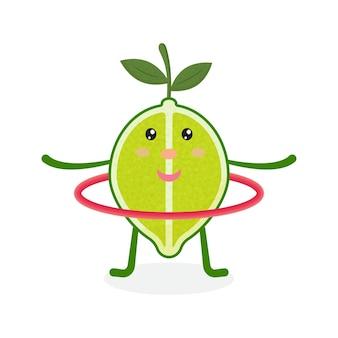Süße limetten-cartoon-figur, die übungen mit hula-hoop macht gesunde ernährung und fitness
